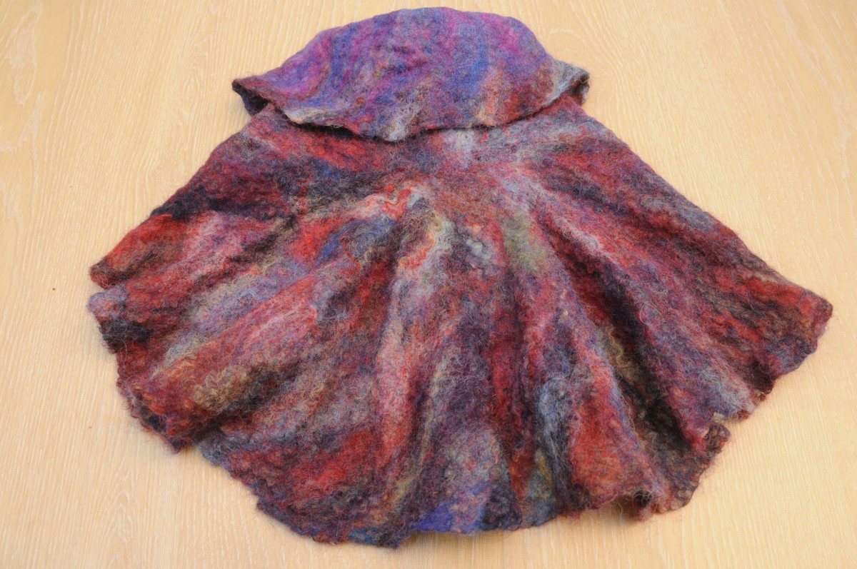 The back of the Nuno felted circle jacket