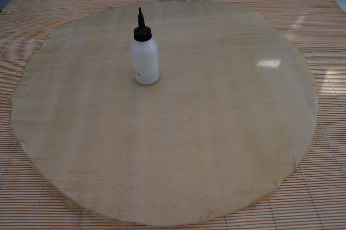 Turn the template over and smooth the silk out using the soapy water.