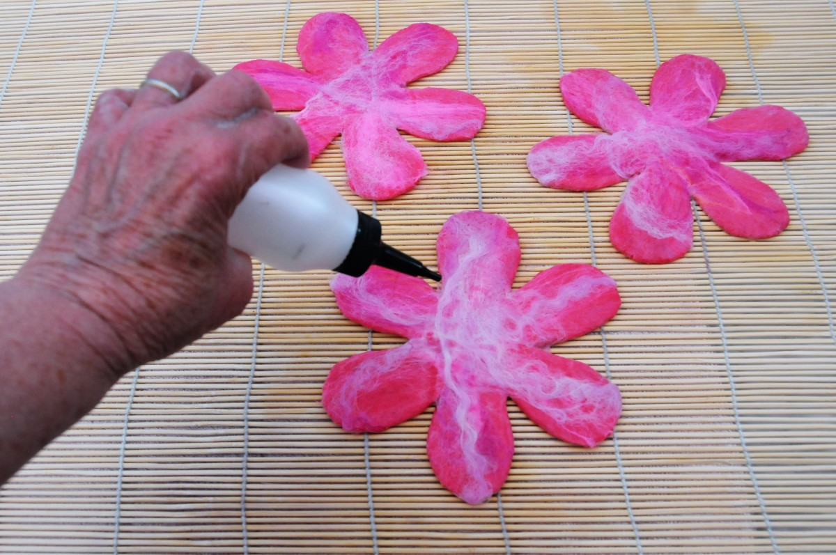 Turn Over and Complete Side 2 of the Petals with Merino Wool