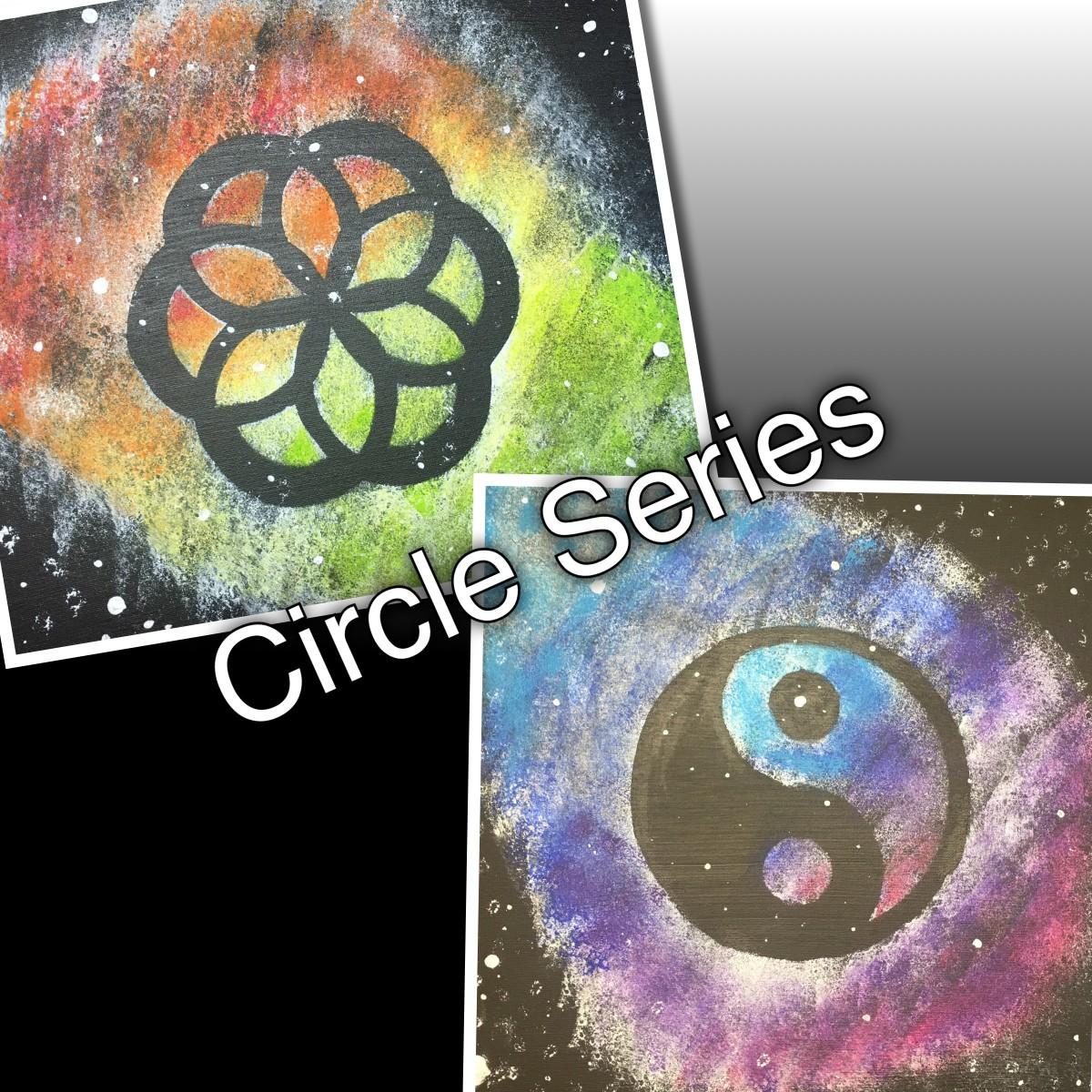 Designs based off of circles using handmade stencils.