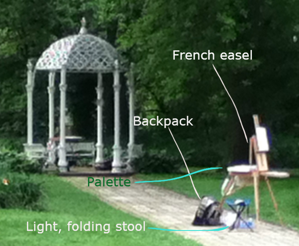 A photo of the setup of a fellow artist before she got started painting. Notice how she had a French easel, a backpack to carry her materials, a flat palette, and a light foldable stool.