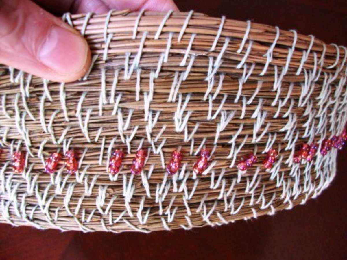 Having gained a feel for working with needles, this basket went faster. Larger coils and sturdier stitching made for a much better basket.