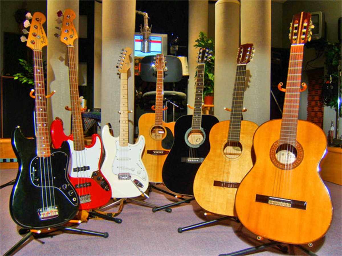 Acoustic and electric guitars.