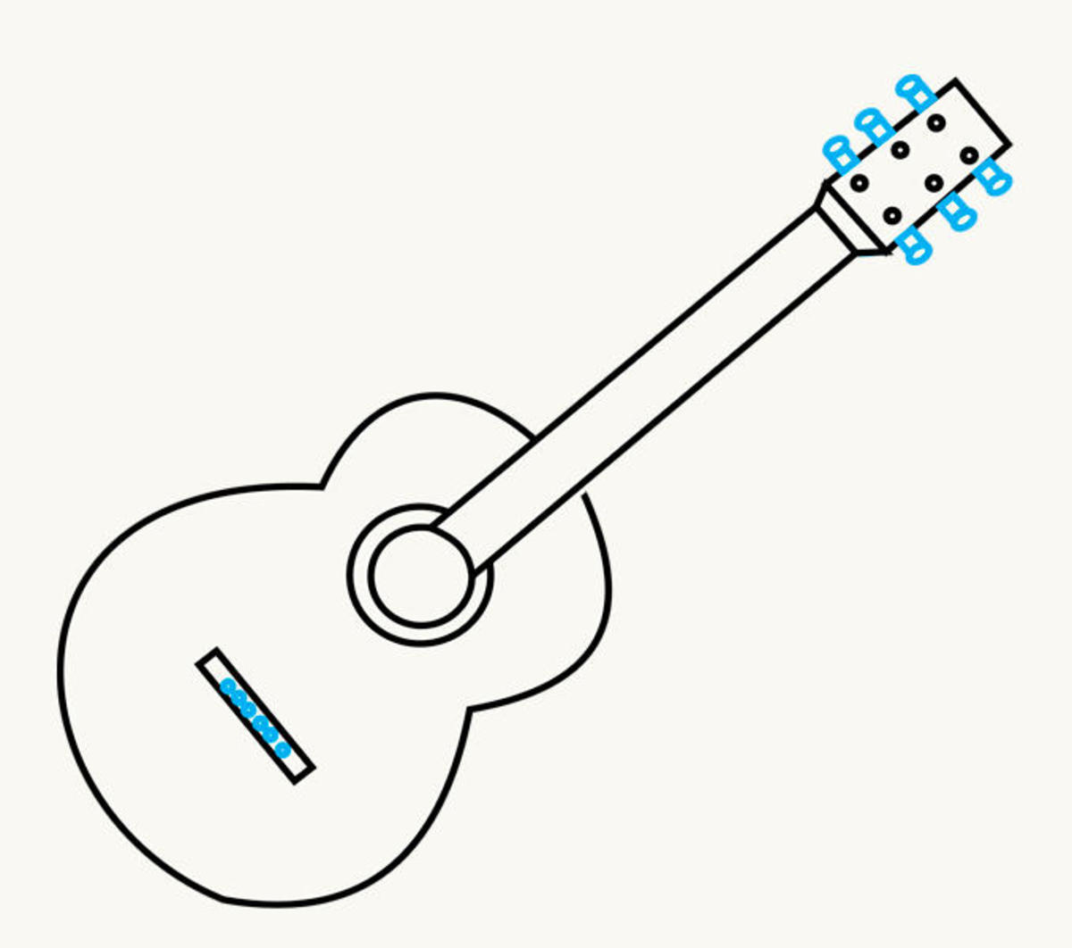 Step By Step How To Draw A Guitar Feltmagnet Crafts