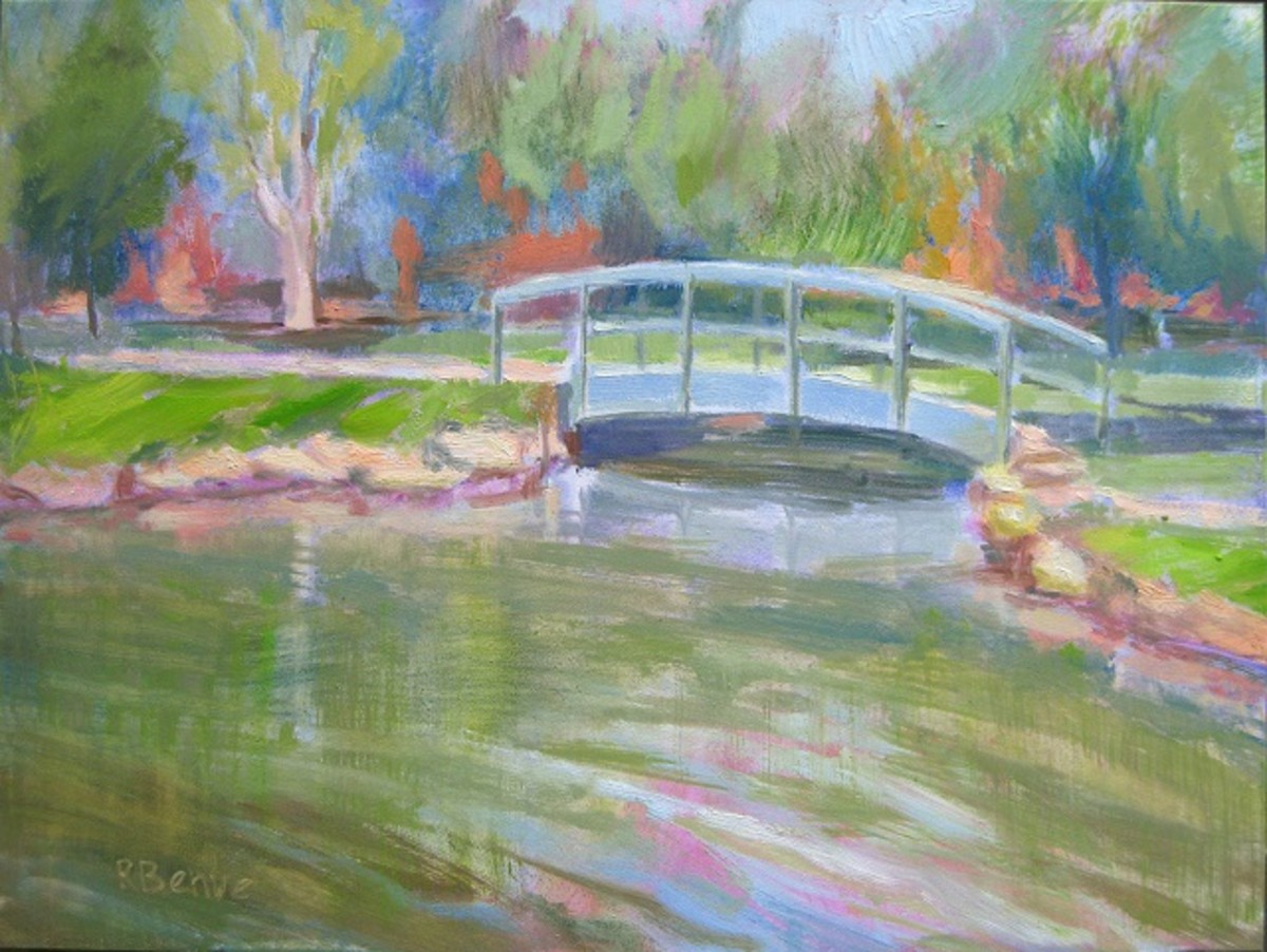 """Schiler Park Bridge"", oil on gesso panel. One of my plain air paintings, completed in about two hours. Plein air painting by Robie Benve."
