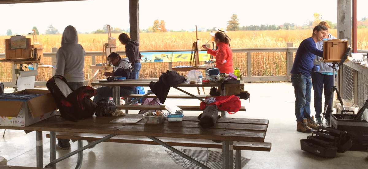 Find a group or painting class! Painting with others feels safer and encouraging. Pictured: Group of plein air painters taking a class with Joseph Lombardo in Columbus, OH. This was a rainy and cold day, we painted under a shelter at a local park.