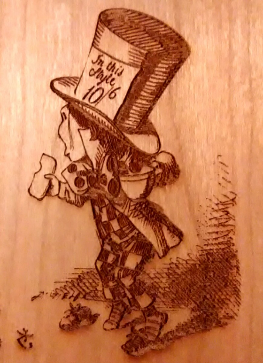 The wood cut style engravings by Sir John Tenniel laser beautifully on Cherry wood.