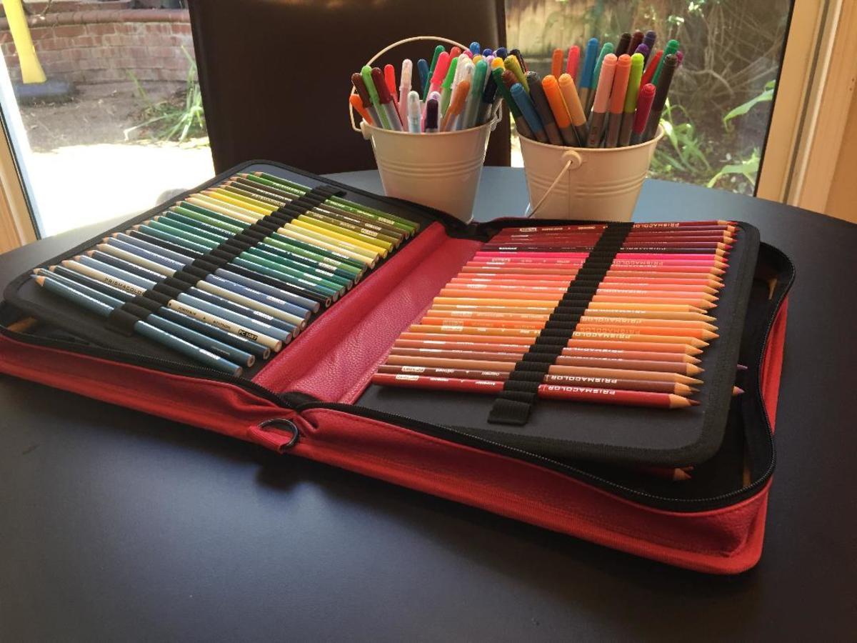 Color pencil case and mini pails.