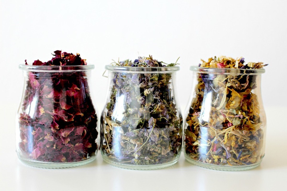 Different Petals in Glass Jars