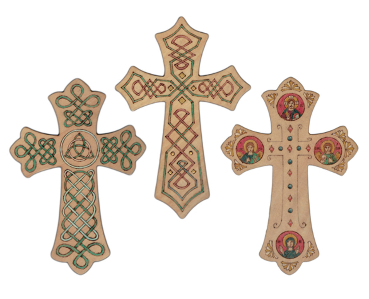 Crosses with colorful designs make nice gifts.