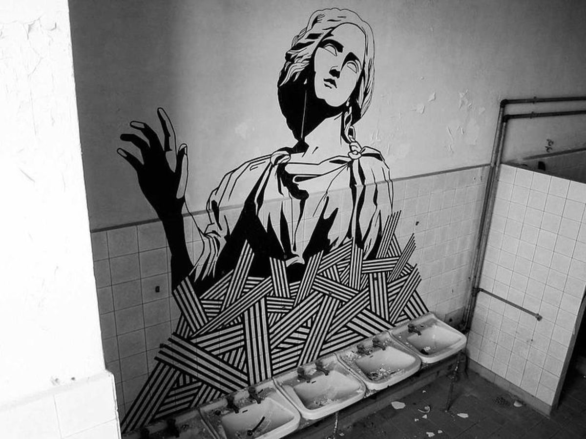 Tape Art Piece by Buff Diss With Black Duct Tape