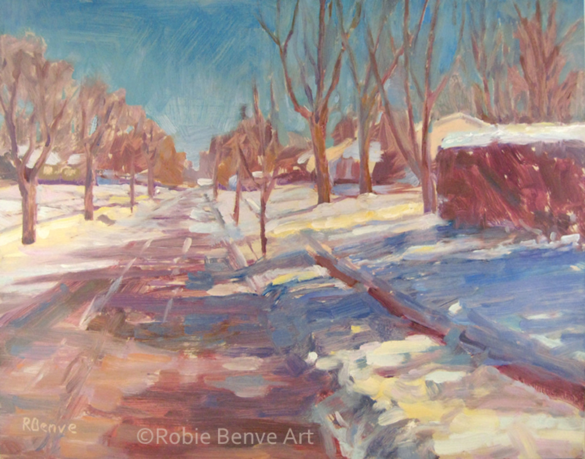 """Spring is Around the Corner"" by Robie Benve, oil on panel. The shadow on the snow becomes one darker mass with the bush."