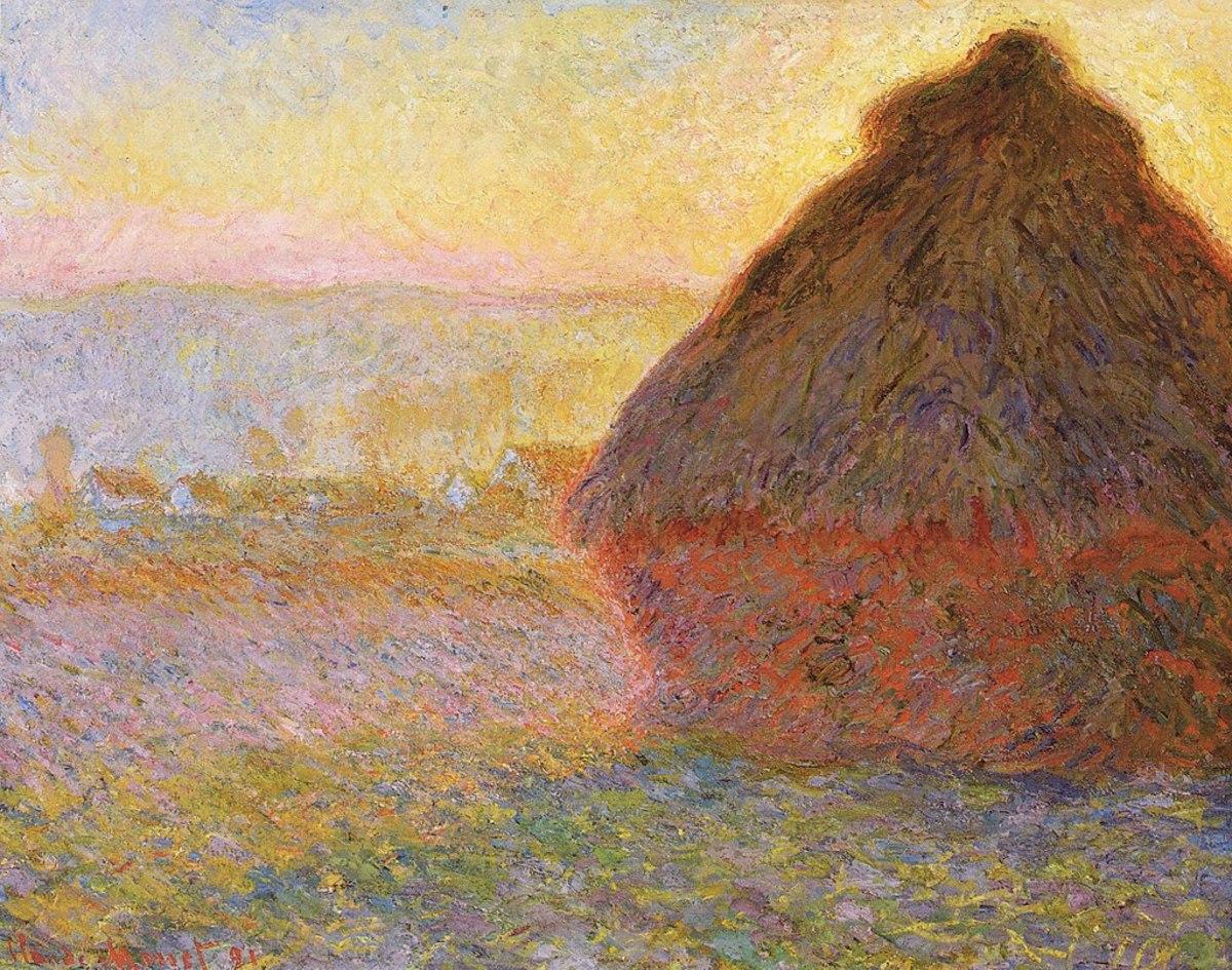 Haystack, sunset
