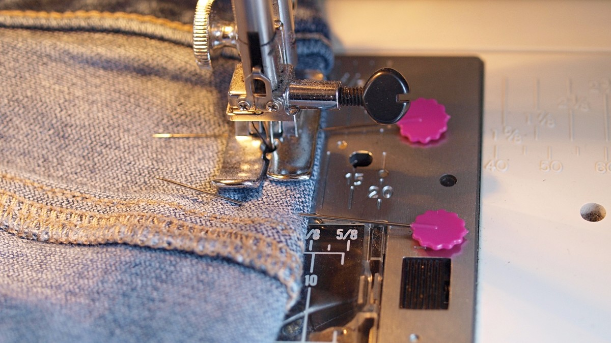 Create two darts to address any pant gaping. This shows sewing the dart.