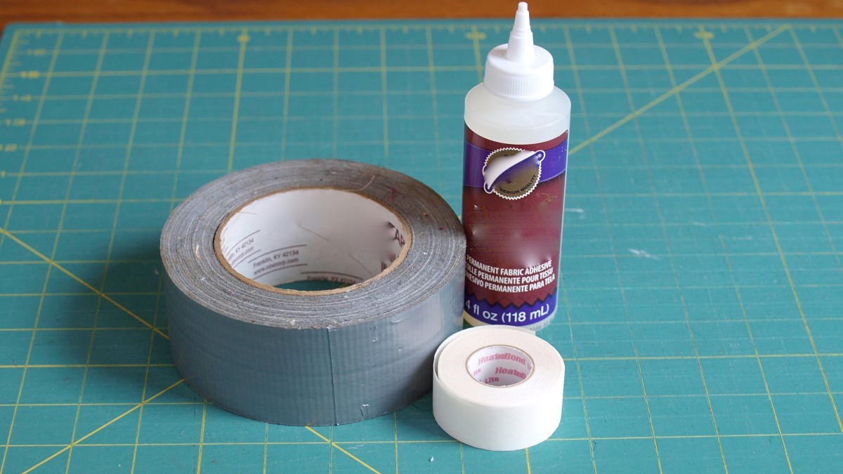 Adjust your pant fit with these no-sew methods: fabric glue, iron-on fusible tape, duct tape, and folding.