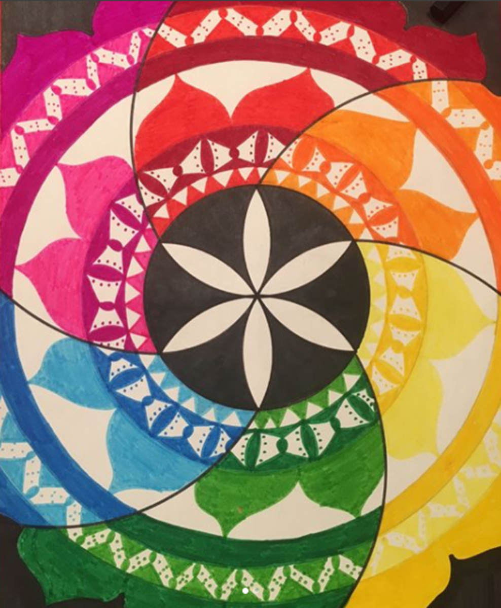 Incorporating mandala designs with a fraction of the seed of Life