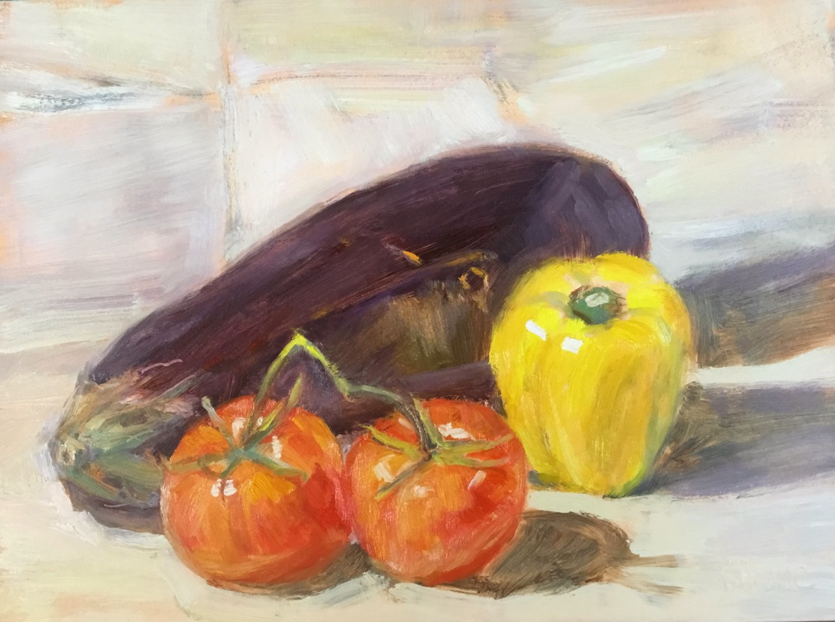 The still life I completed in one session, wet on wet.