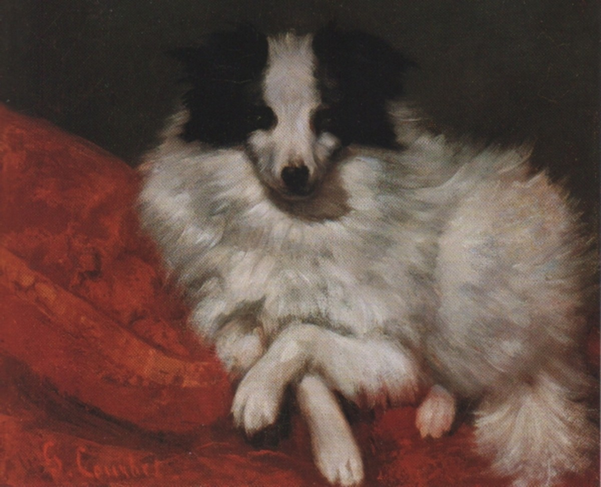 """Sitting dog on pillow"" by Gustave Courbet (1855)"