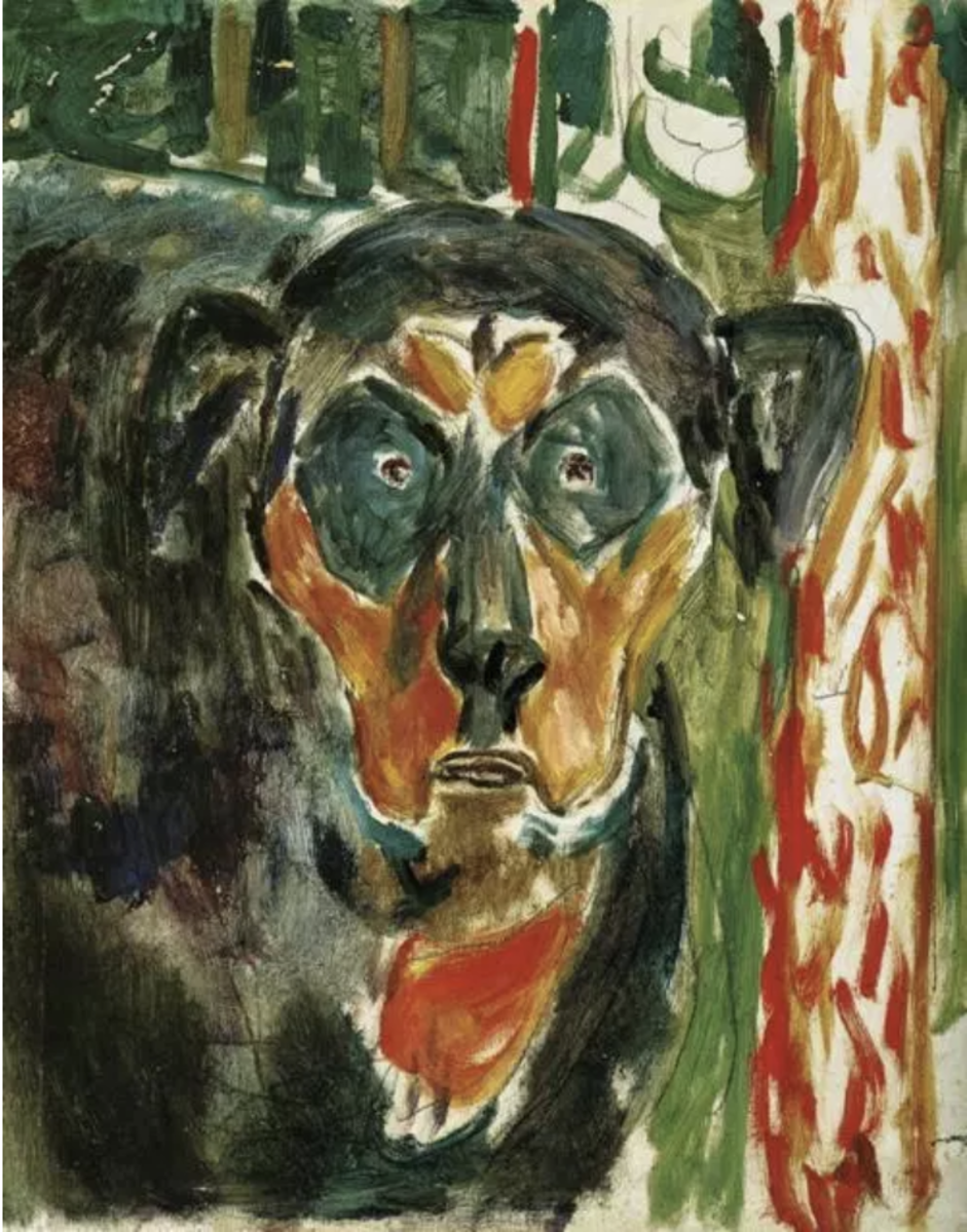 """Head of a Dog"" by Edvard Munch (1930)"