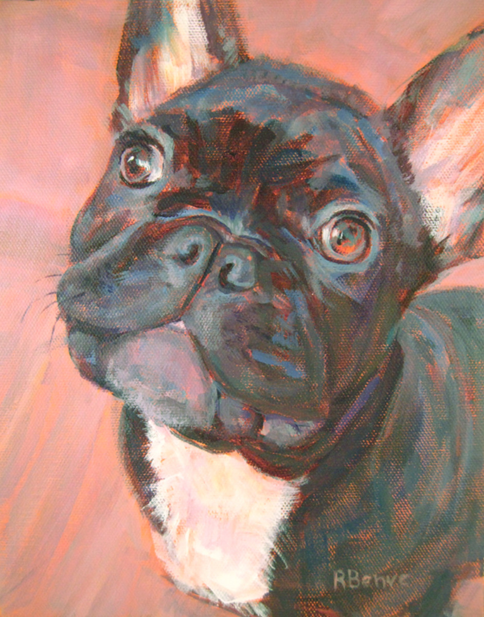 This black French bulldog is very feisty, so I chose an orange ground to portray vitality and to contrast the blues and purples of his fur. Acrylic on canvas.