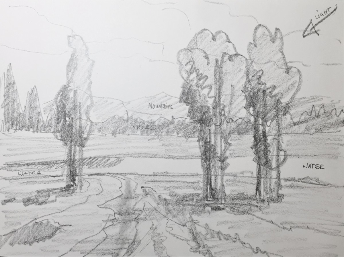 Quick drawing of a landscape scene to be used as a sketch for a painting by Robie Benve
