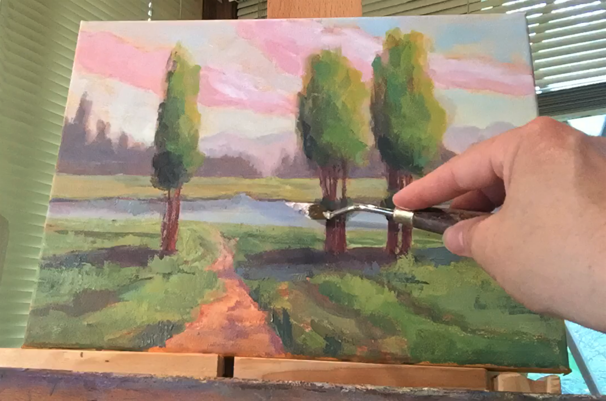 Towards the end, add texture with a painting knife.