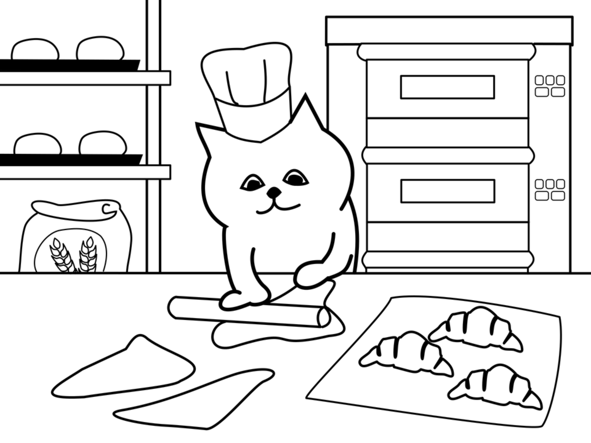 Look at this kitty kneading dough in his bakery!