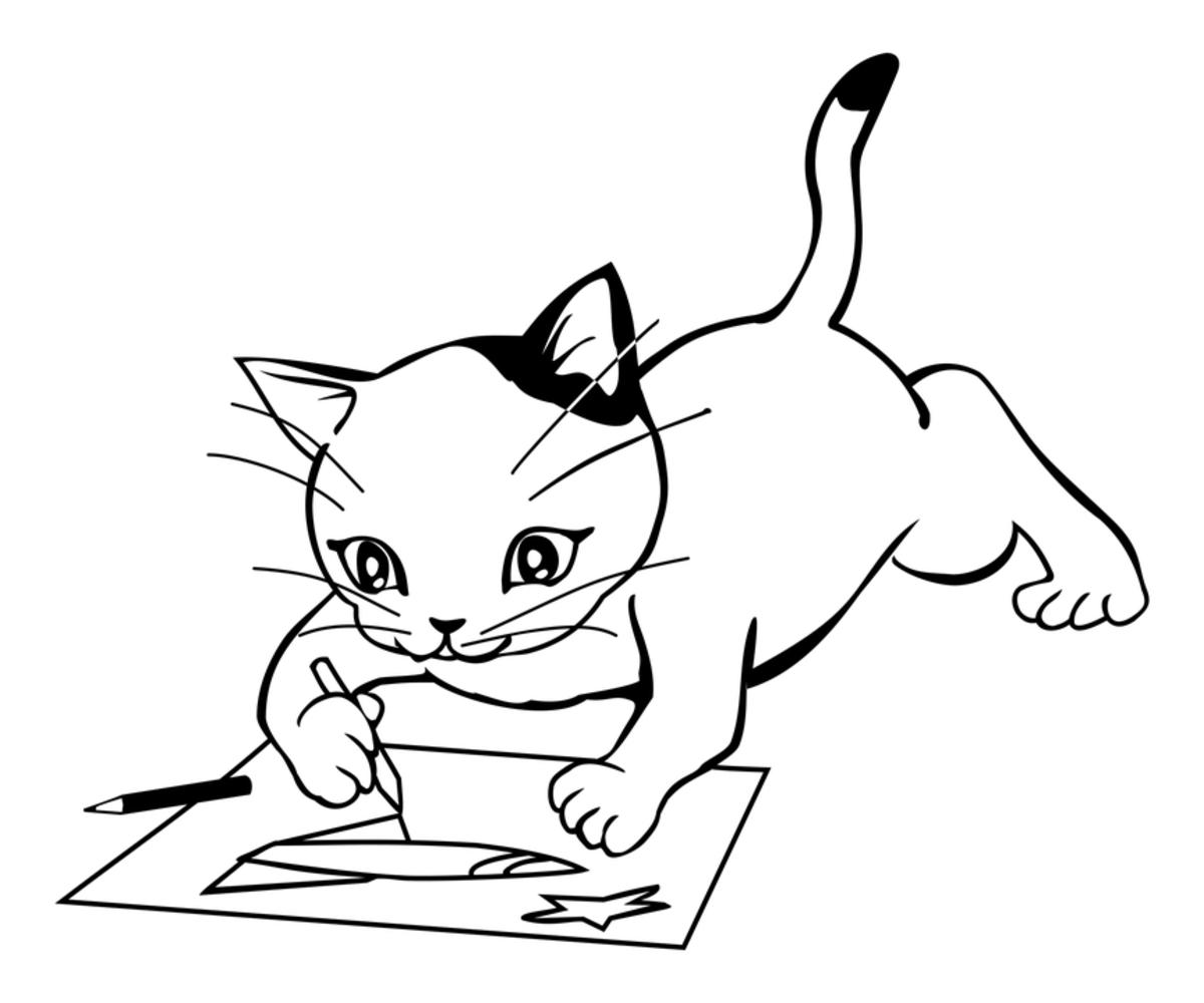 Anthropomorphic kittens enjoy coloring, just like human children!