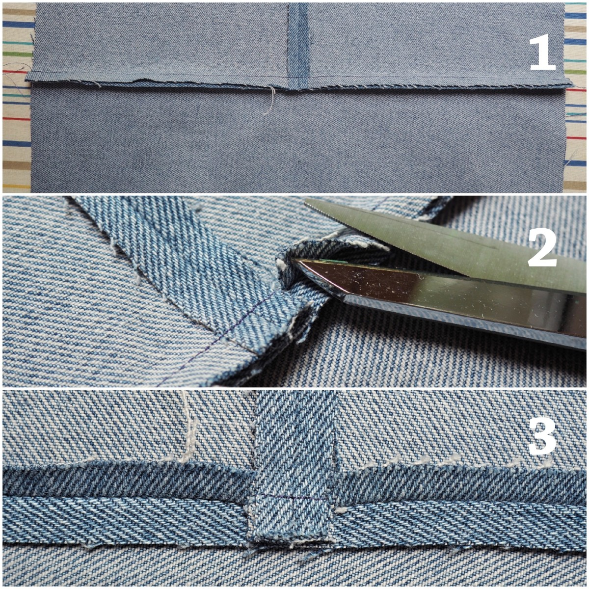 How to press the seams open around the seam to avoid bulk.