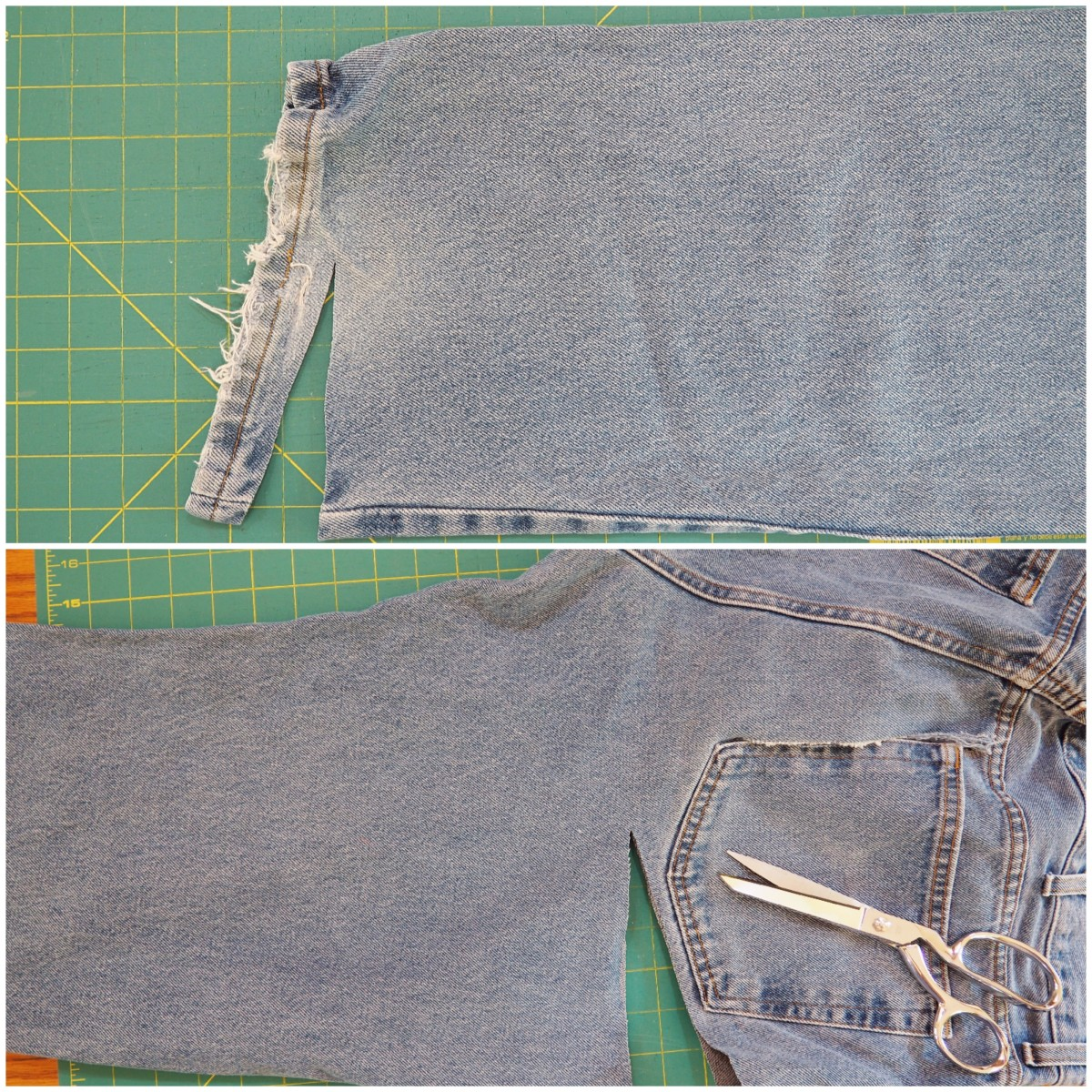 Getting the fabric pieces from the jeans.