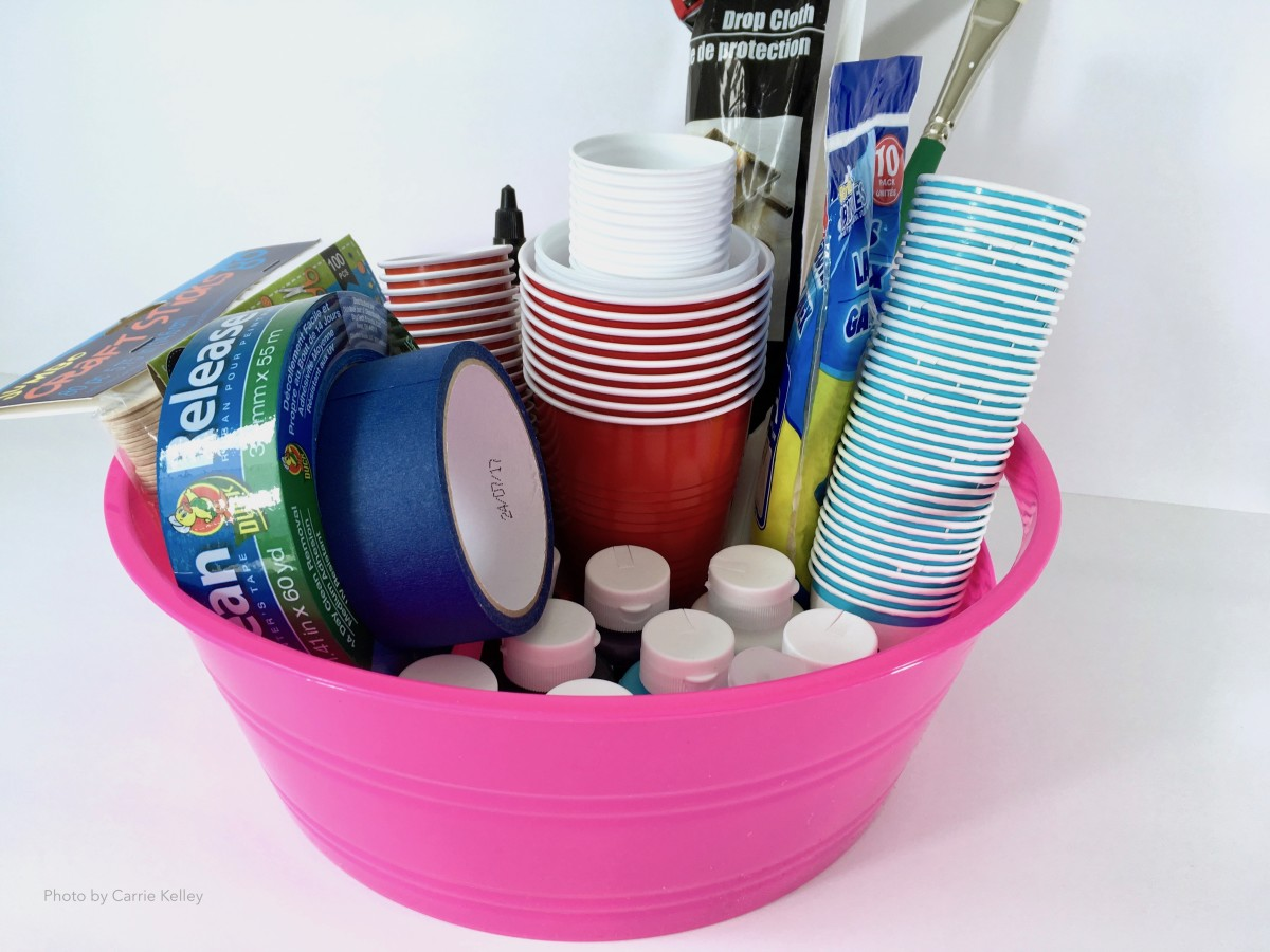A plastic bin to store supplies