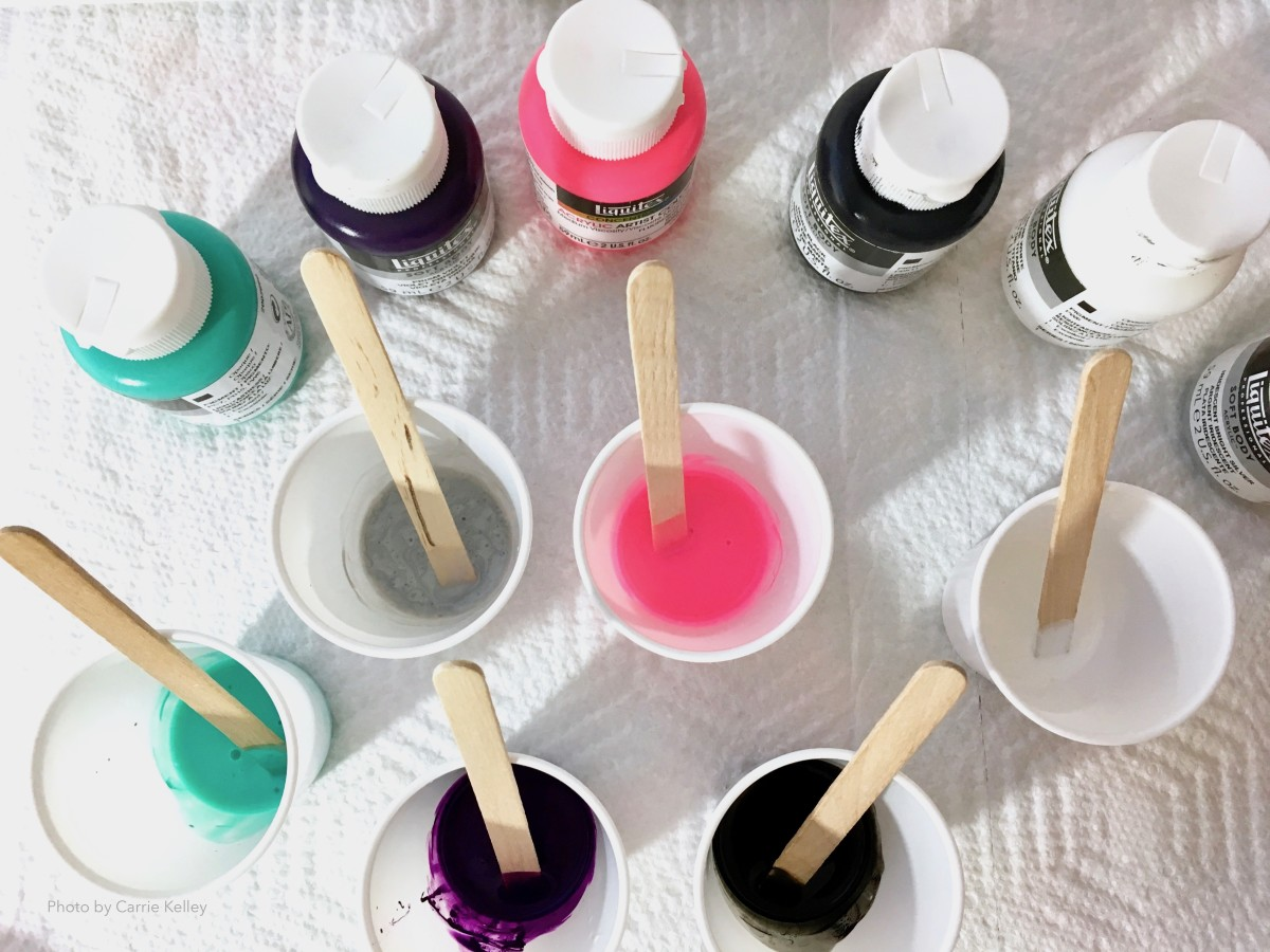 "For small pour paintings (8x10"" or smaller), 3-ounce (88 mL) plastic cups are the perfect size for mixing paint and pouring medium."