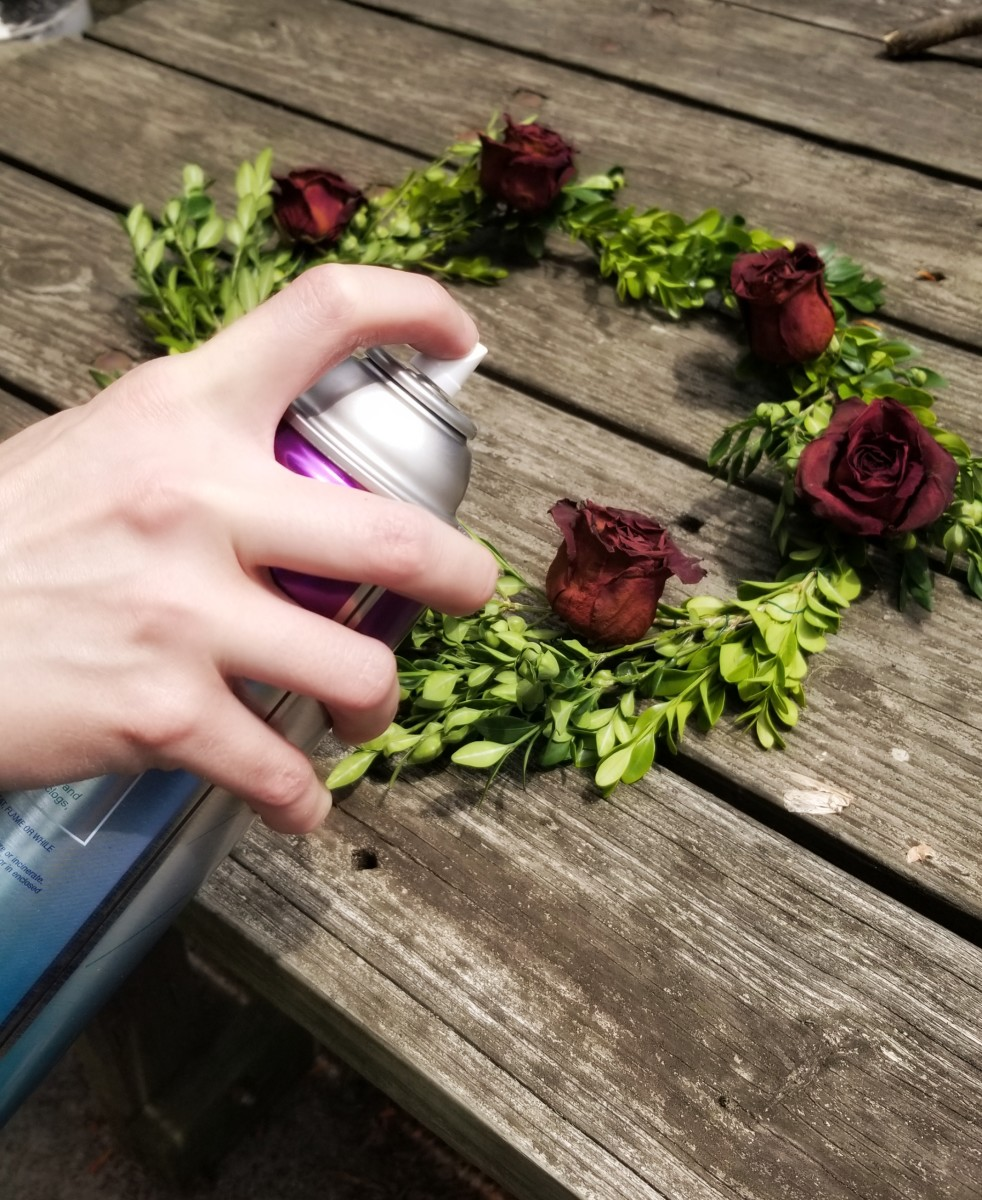 Spray your wreath generously with unscented hairspray.