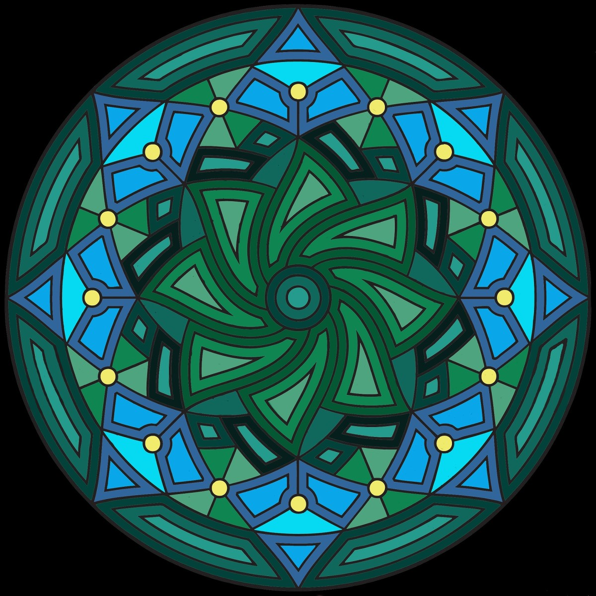 A mandala colored in shades of contrasting and complimentary greens and blues with yellow accents.