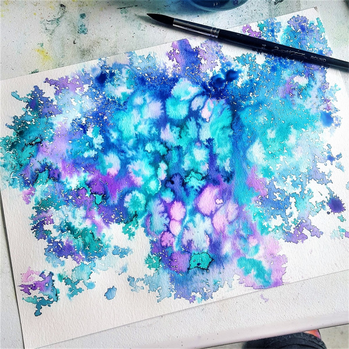 Watercolor abstract created with leftover paint!