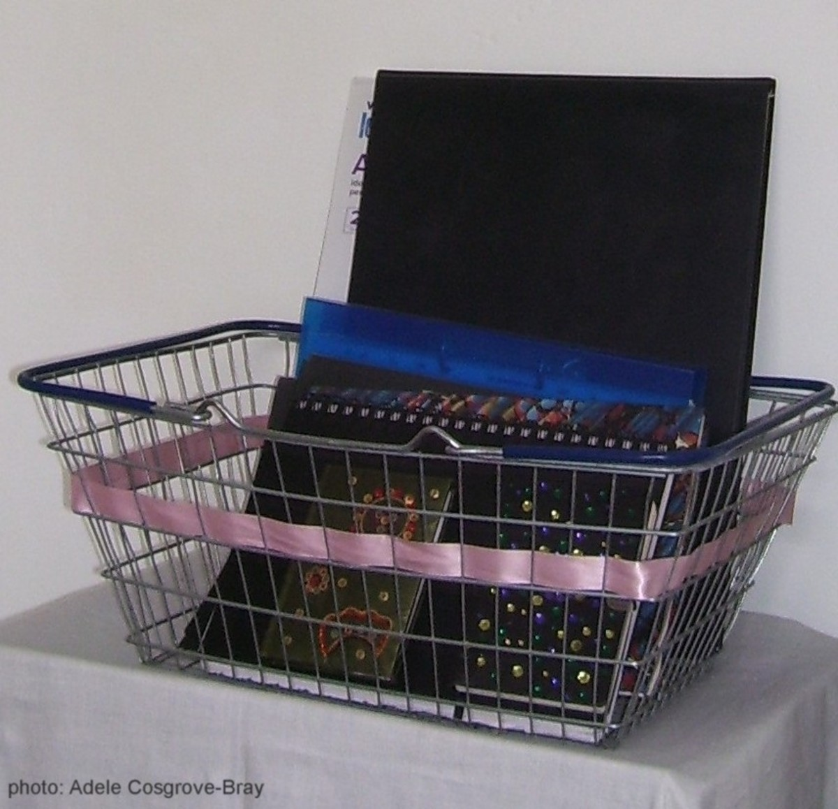My recent sketchbooks, stored easily in a wire shopping basket.