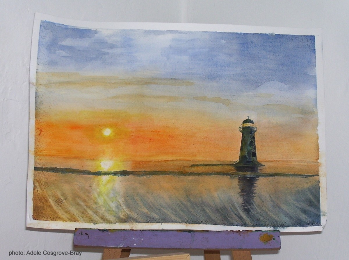 Lighthouse at the Point of Ayr, Wales, by Adele Cosgrove-Bray; watercolour; 2018.