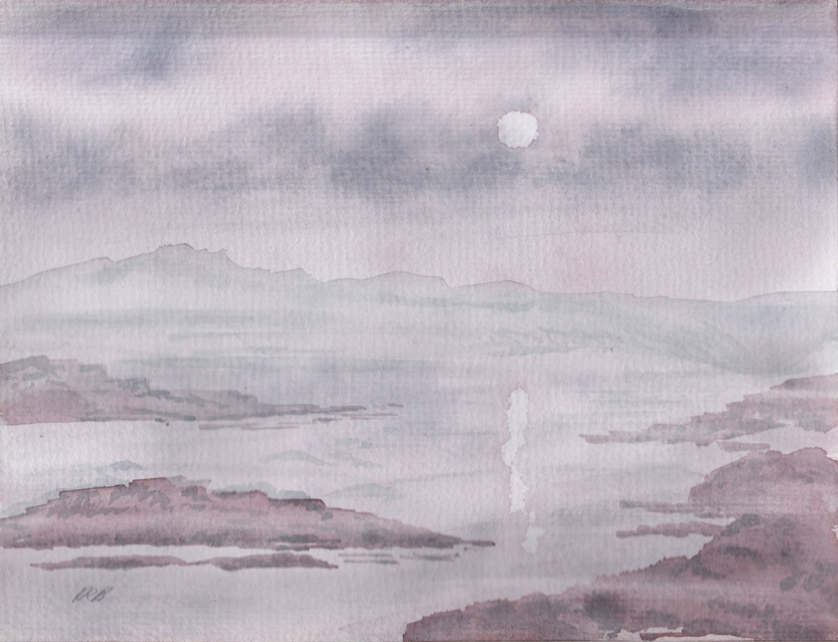 """The Dawn of Misty Dreams"" by Adele Cosgrove-Bray; watercolour; 2018."