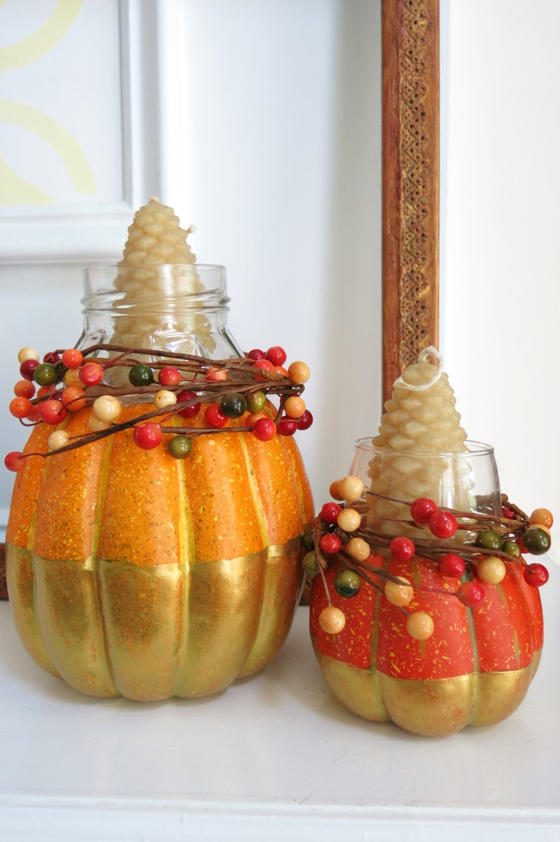 Fall Candle Holders Made From Pumpkins