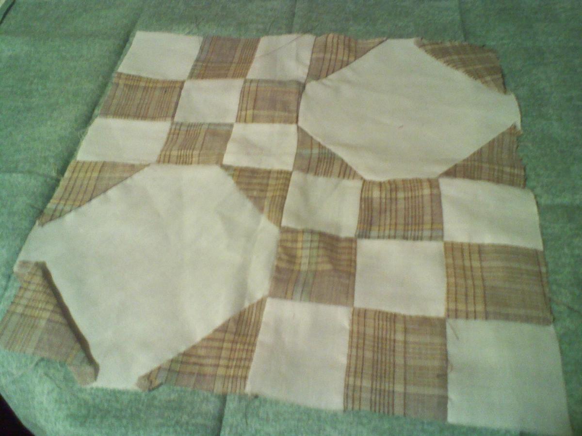 Practice quilt block found in Grandma's scraps.