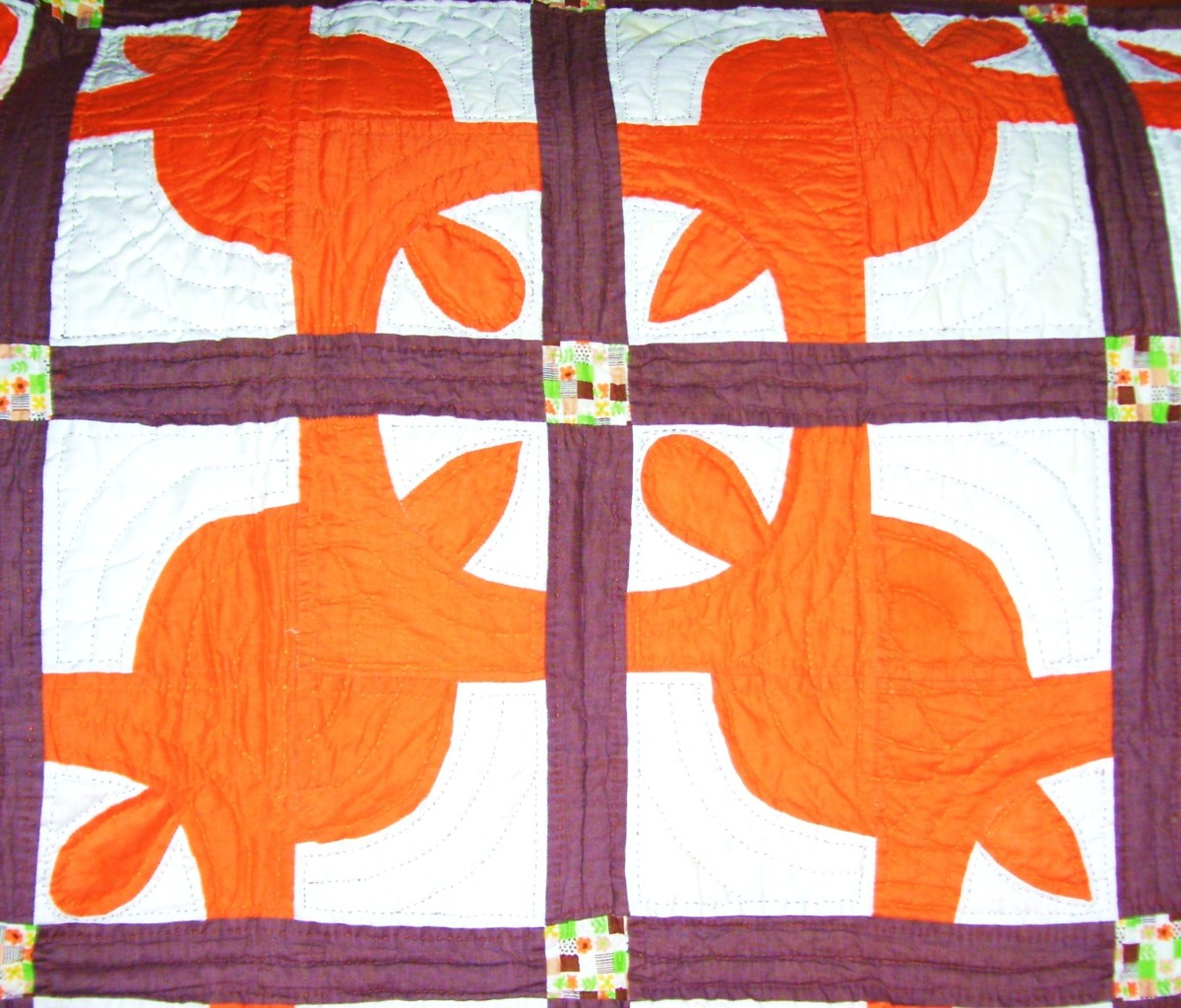 "Orange and brown ""Turtle Quilt"" (1970's)"