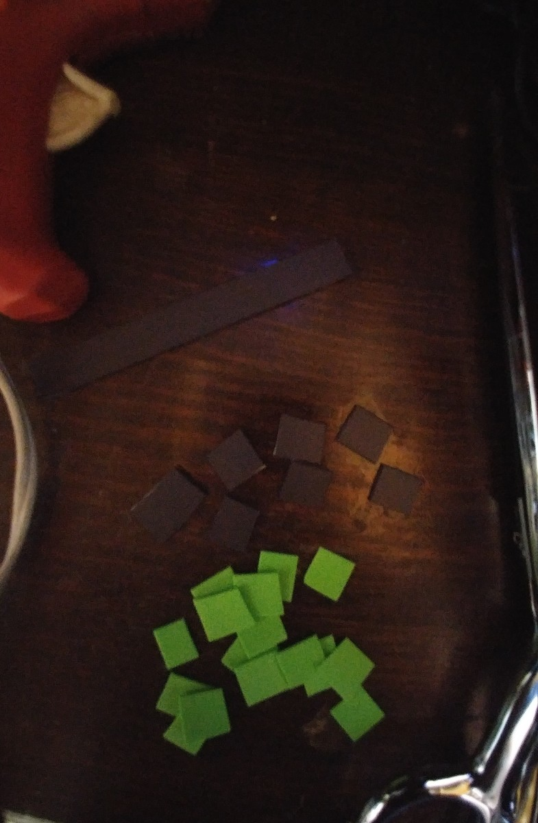 Cut tiny squares out of magnet strips and craft foam.