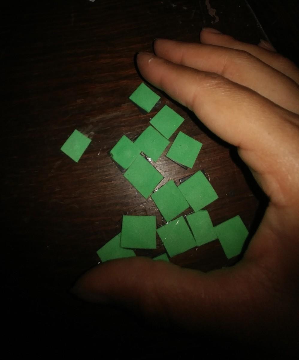 Glue foam squares on the magnet squares.