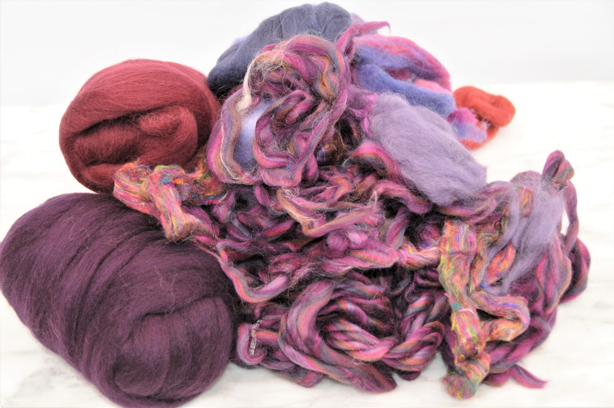 A selection of complimentary Merino Wool Roving and Pencil Roving for Embellishment.
