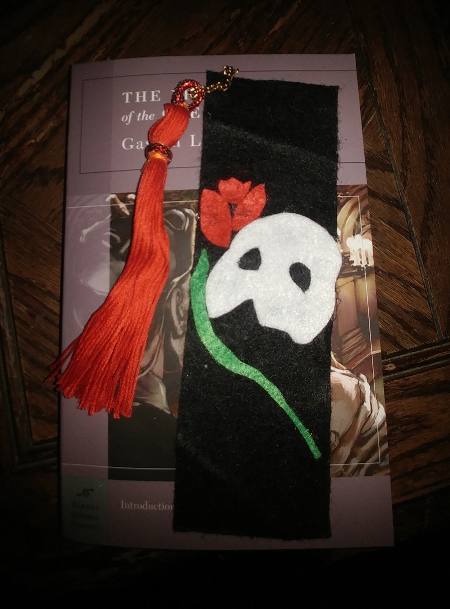 This is a traditionally shaped bookmark, that fits the Phantom of The Opera theme to a tee.