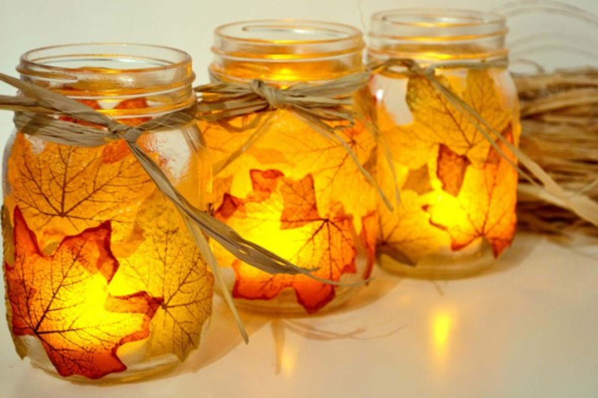 Leaf Covered Candle Holders