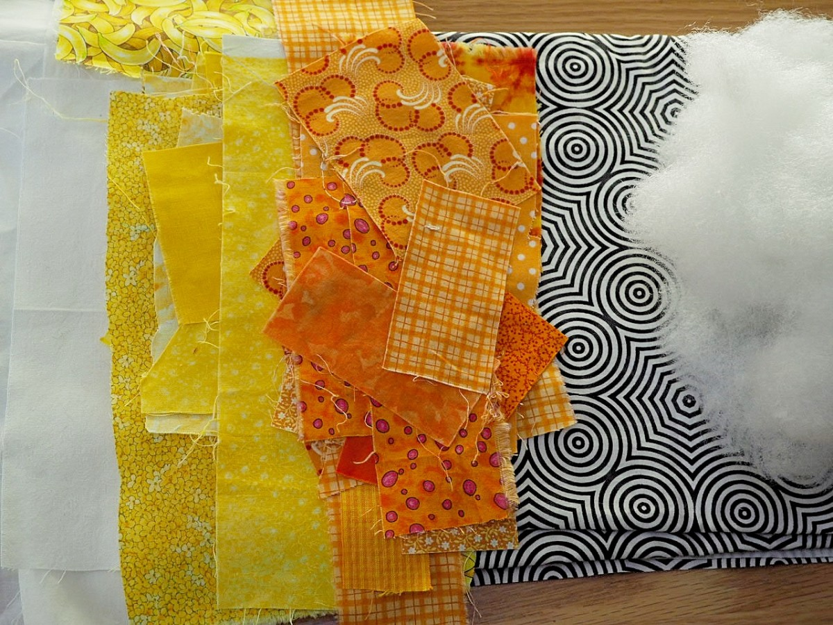 Fabric scraps are an important element of this project.