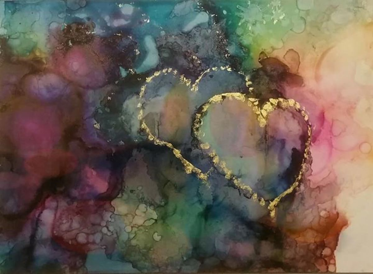 Two Hearts Beat As One original art alcohol inks on yupo by Candice Collins
