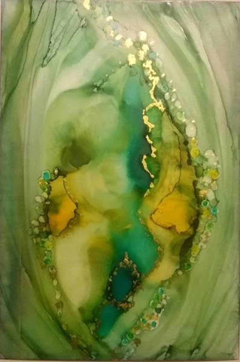 Monkey's Gold  alcohol inks on photo paper by Candice Collins (Sold) art prints available do not use without permission