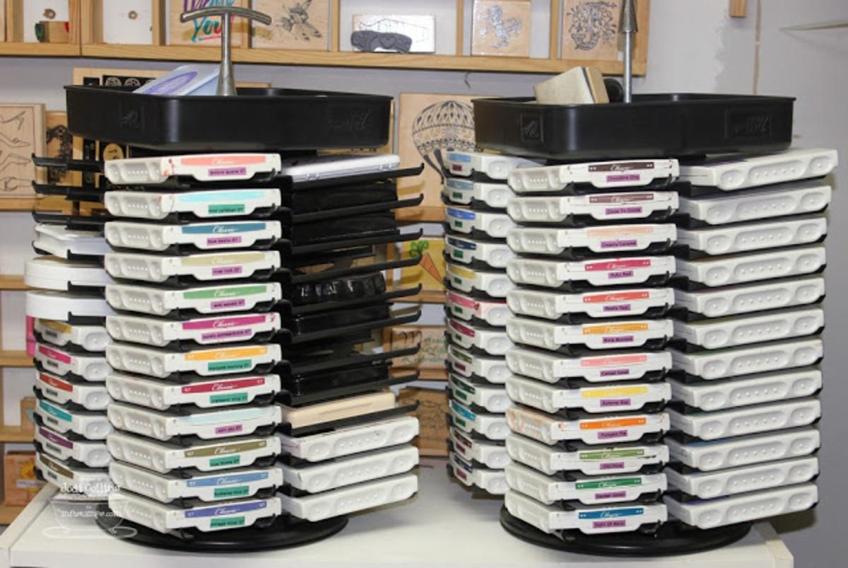 Spinning ink pad organizational trays.
